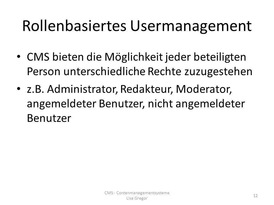 Rollenbasiertes Usermanagement