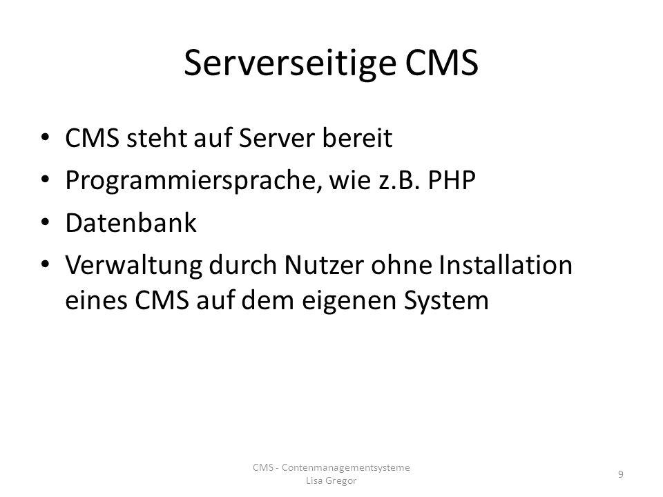 CMS - Contenmanagementsysteme Lisa Gregor