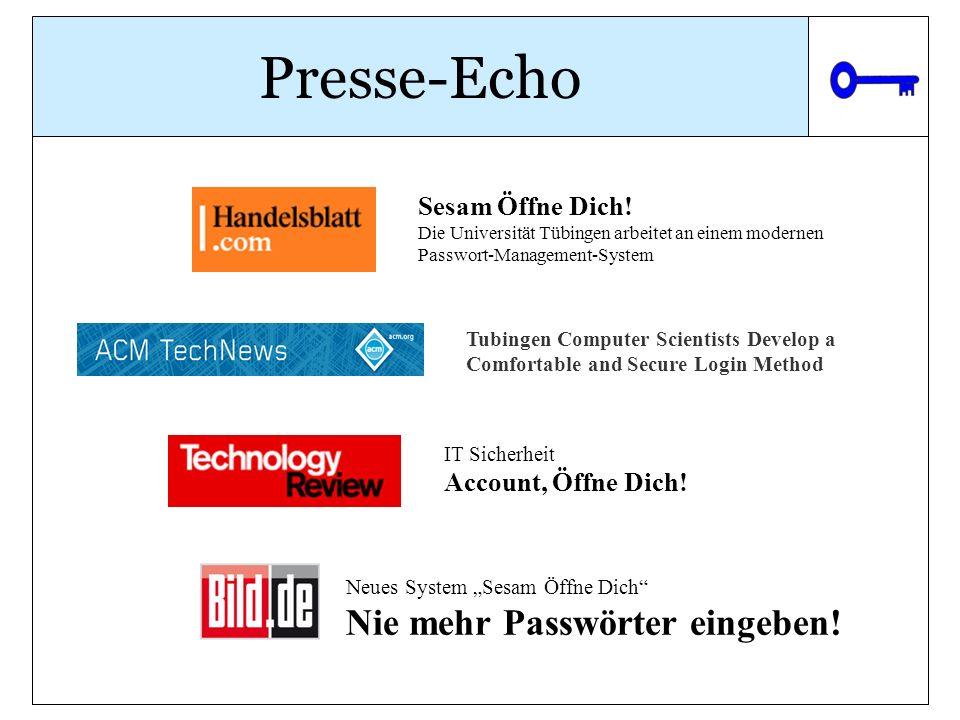 Presse-Echo Nie mehr Passwörter eingeben! Sesam Öffne Dich!