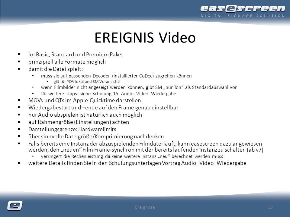 EREIGNIS Video im Basic, Standard und Premium Paket