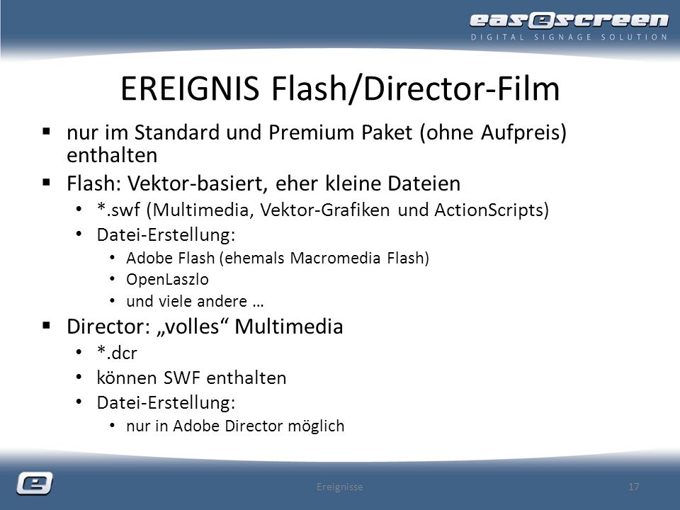 EREIGNIS Flash/Director-Film