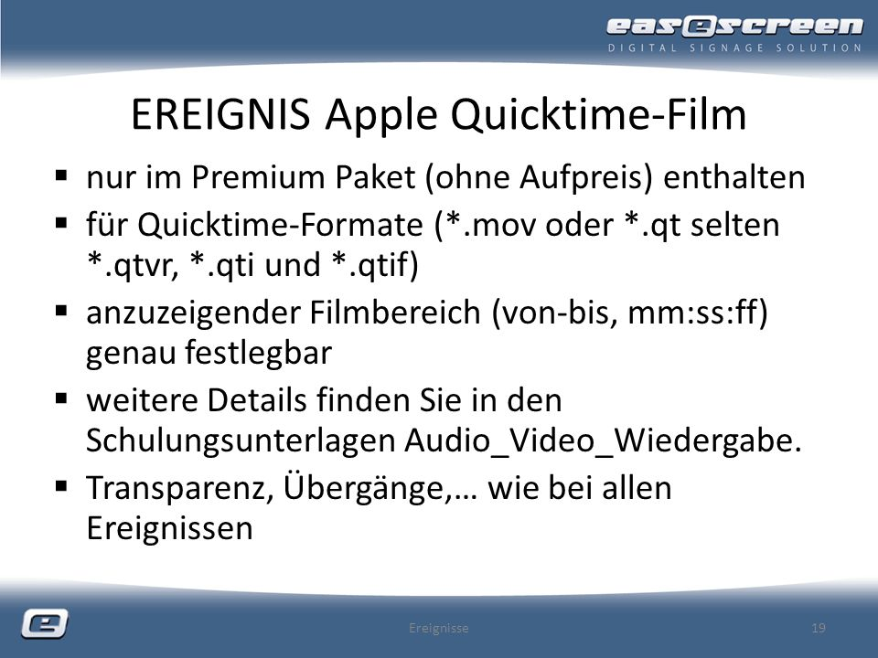 EREIGNIS Apple Quicktime-Film
