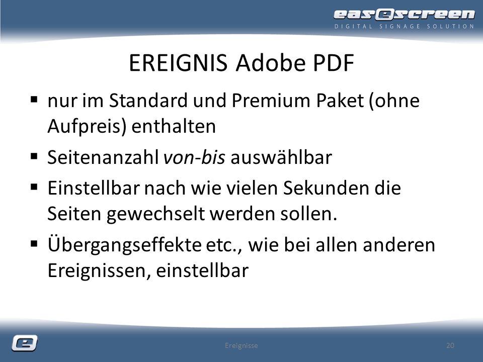 EREIGNIS Adobe PDF nur im Standard und Premium Paket (ohne Aufpreis) enthalten. Seitenanzahl von-bis auswählbar.