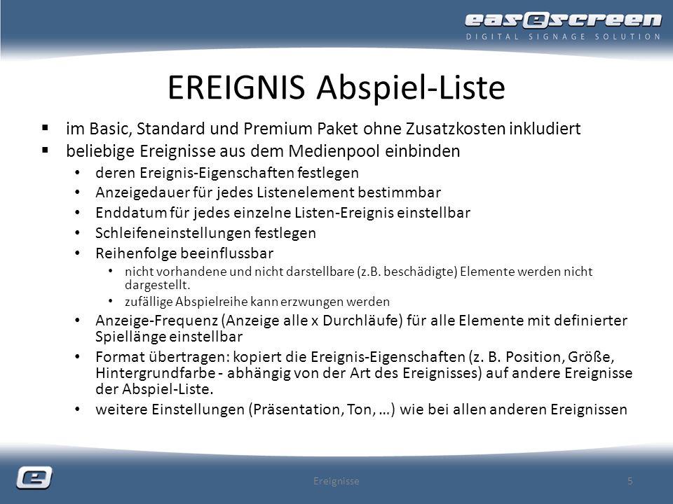 EREIGNIS Abspiel-Liste