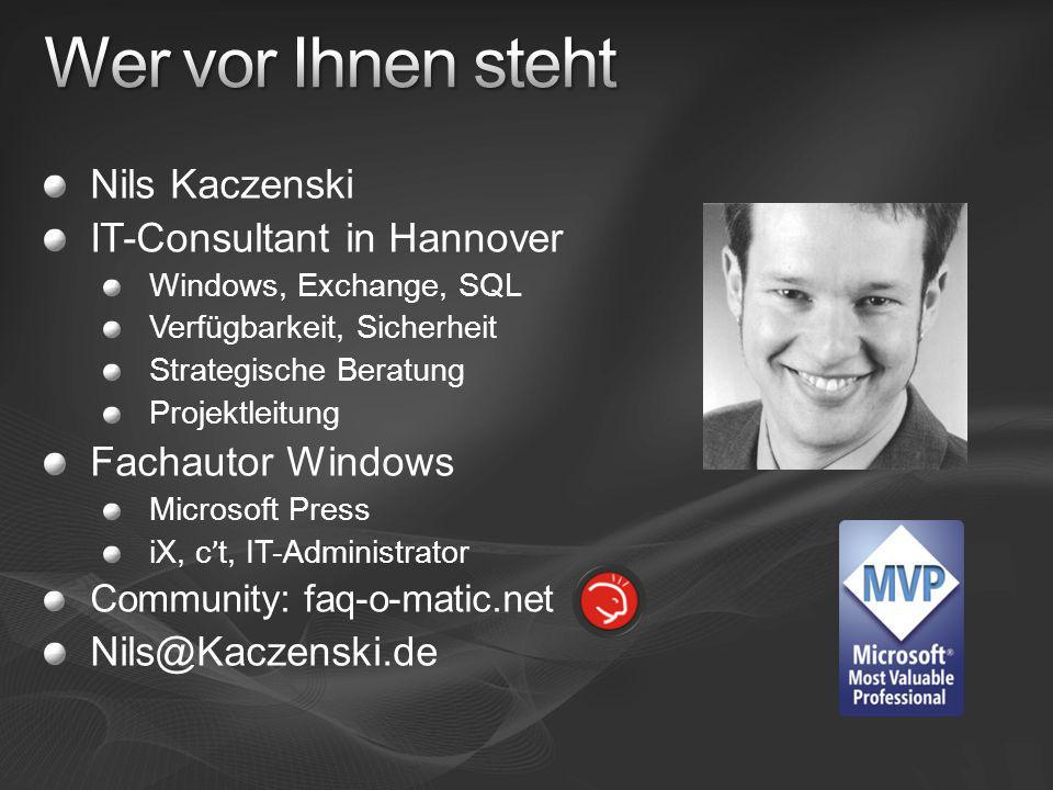 Wer vor Ihnen steht Nils Kaczenski IT-Consultant in Hannover