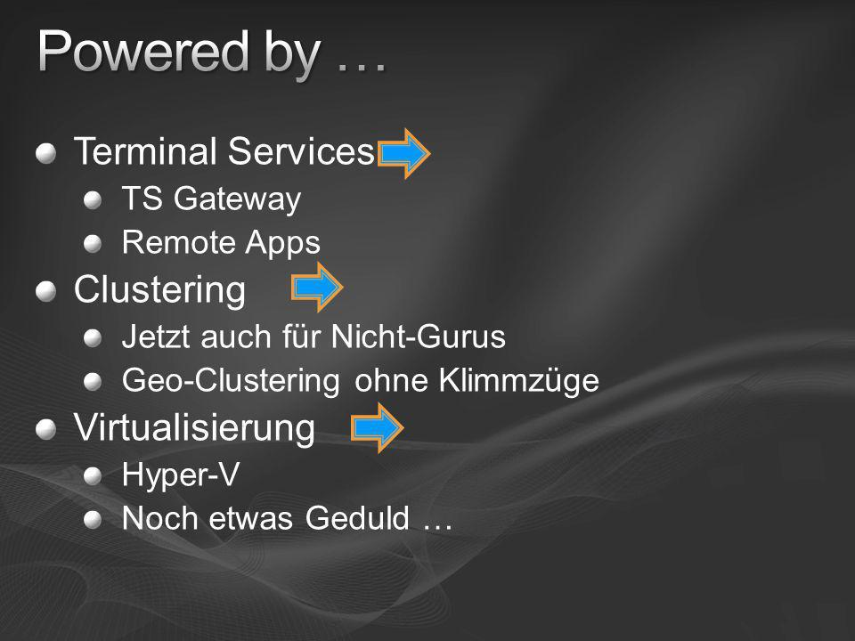 Powered by … Terminal Services Clustering Virtualisierung TS Gateway
