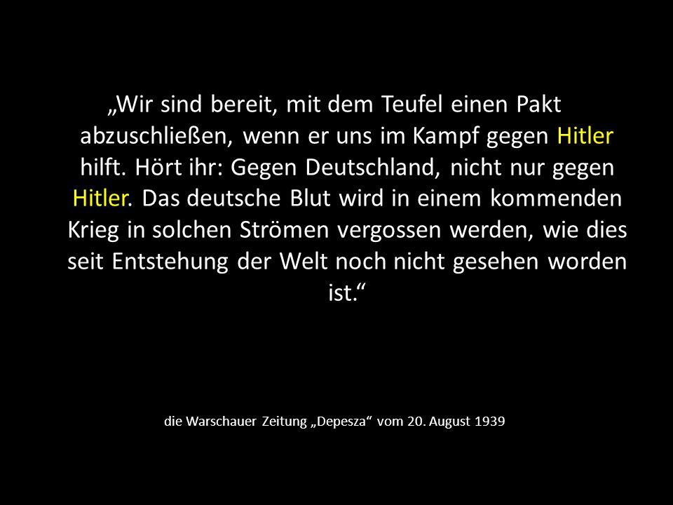 """die Warschauer Zeitung """"Depesza vom 20. August 1939"""