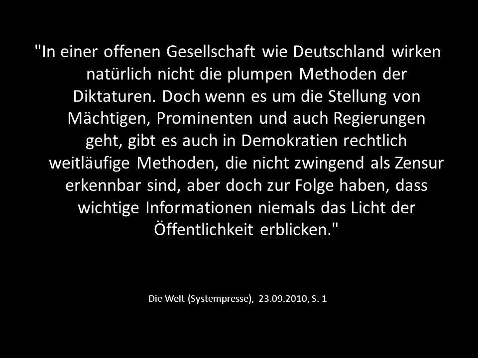 Die Welt (Systempresse), 23.09.2010, S. 1