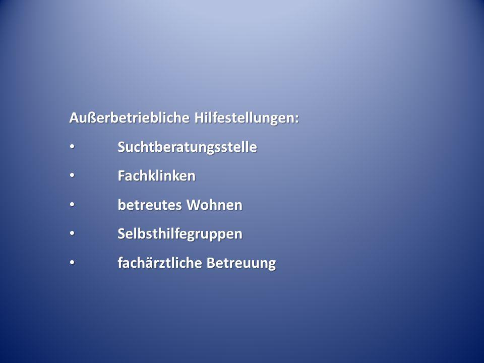 Außerbetriebliche Hilfestellungen: