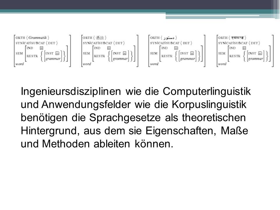 Ingenieursdisziplinen wie die Computerlinguistik und Anwendungsfelder wie die Korpuslinguistik benötigen die Sprachgesetze als theoretischen Hintergrund, aus dem sie Eigenschaften, Maße und Methoden ableiten können.