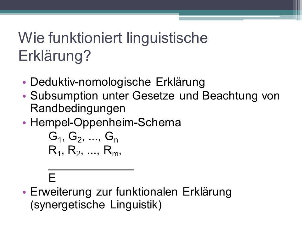 Wie funktioniert linguistische Erklärung