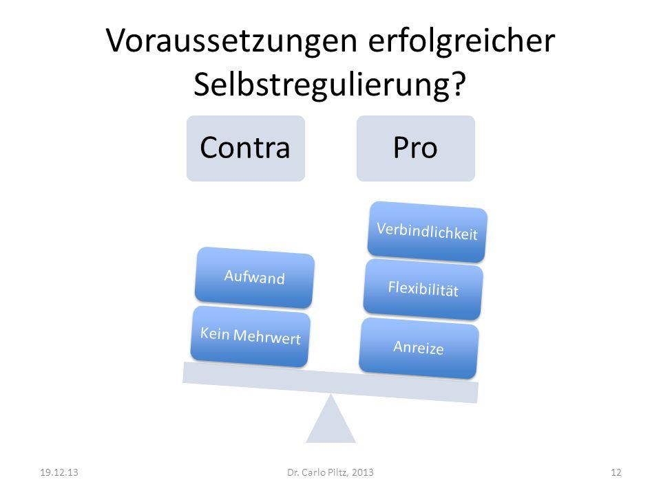 Voraussetzungen erfolgreicher Selbstregulierung