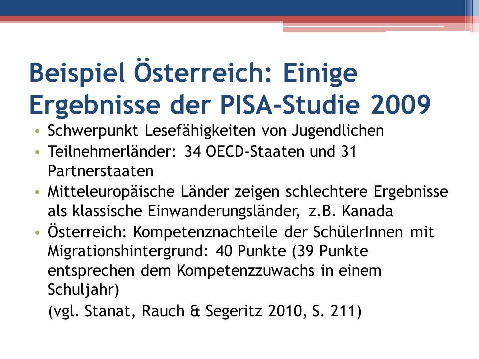 Beispiel Österreich: Einige Ergebnisse der PISA-Studie 2009