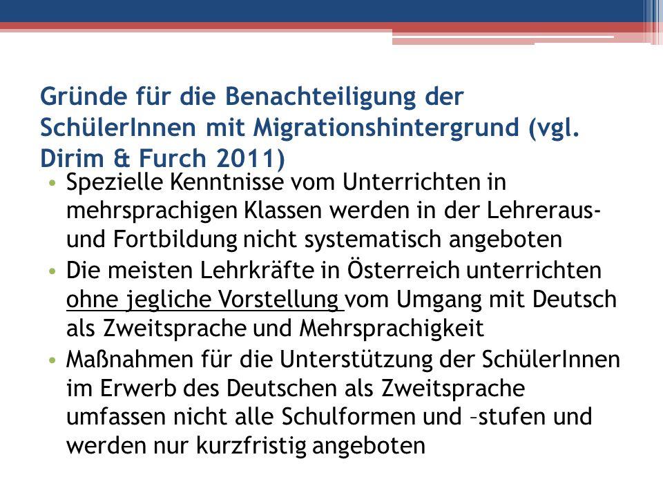 Gründe für die Benachteiligung der SchülerInnen mit Migrationshintergrund (vgl. Dirim & Furch 2011)