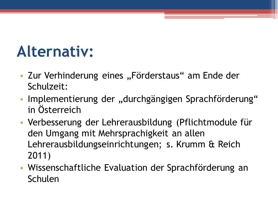 """Alternativ: Zur Verhinderung eines """"Förderstaus am Ende der Schulzeit: Implementierung der """"durchgängigen Sprachförderung in Österreich."""
