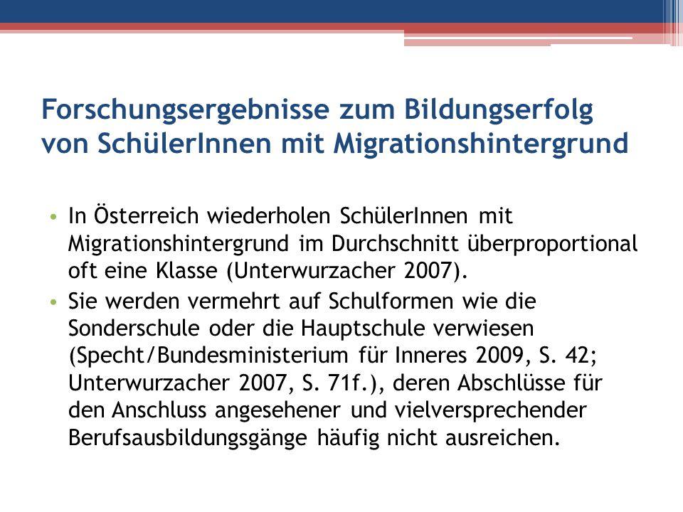 Forschungsergebnisse zum Bildungserfolg von SchülerInnen mit Migrationshintergrund