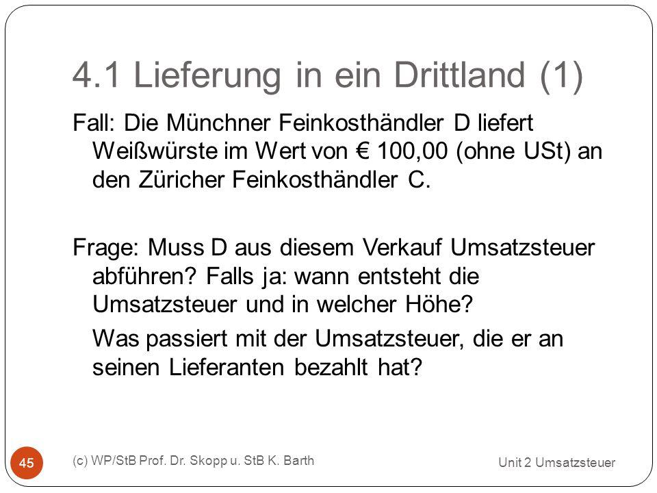 4.1 Lieferung in ein Drittland (1)