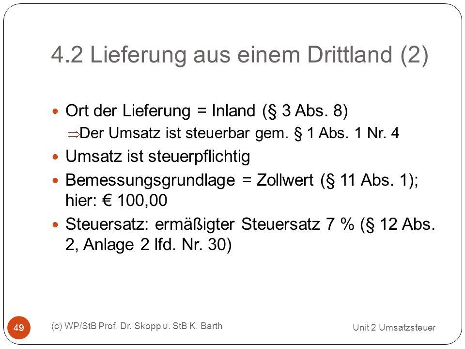 4.2 Lieferung aus einem Drittland (2)