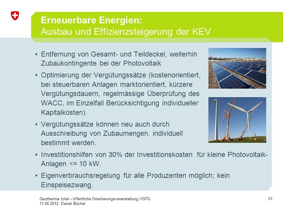 Erneuerbare Energien: Ausbau und Effizienzsteigerung der KEV