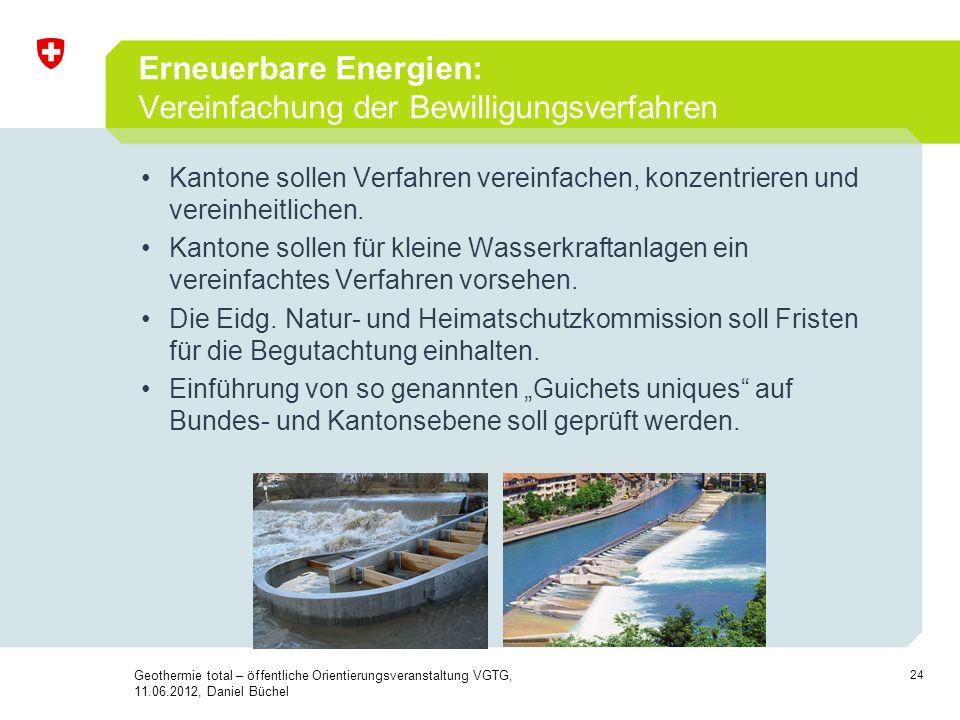 Erneuerbare Energien: Vereinfachung der Bewilligungsverfahren