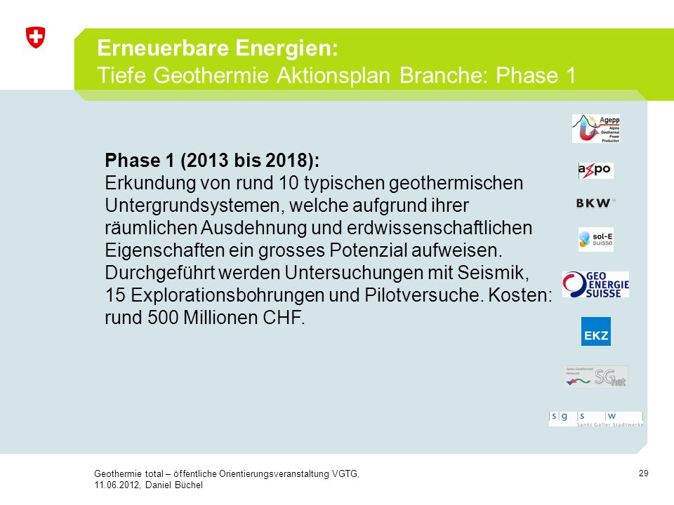 Erneuerbare Energien: Tiefe Geothermie Aktionsplan Branche: Phase 1