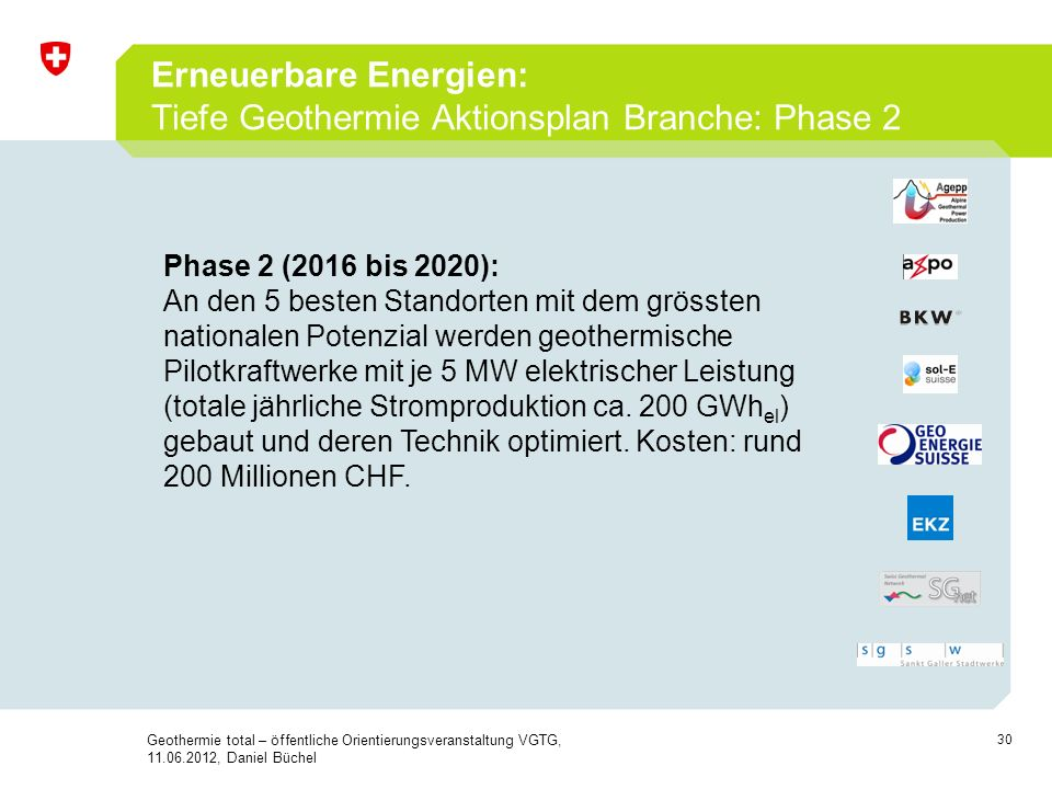 Erneuerbare Energien: Tiefe Geothermie Aktionsplan Branche: Phase 2