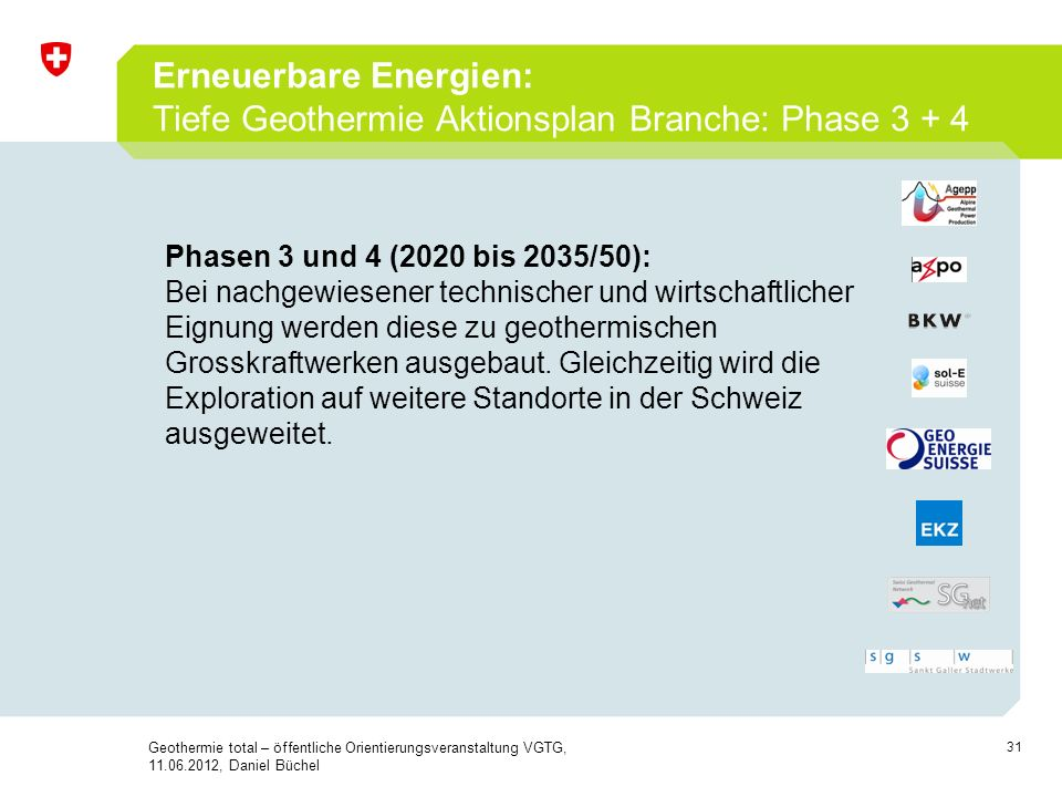 Erneuerbare Energien: Tiefe Geothermie Aktionsplan Branche: Phase 3 + 4
