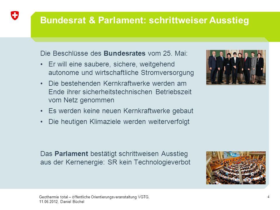 Bundesrat & Parlament: schrittweiser Ausstieg