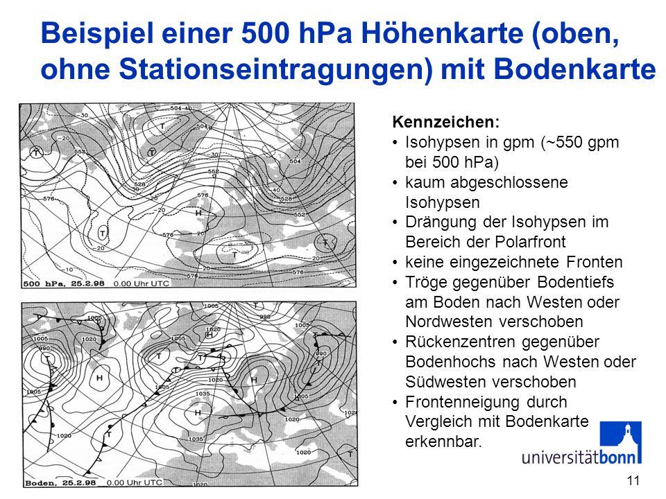 Beispiel einer 500 hPa Höhenkarte (oben, ohne Stationseintragungen) mit Bodenkarte