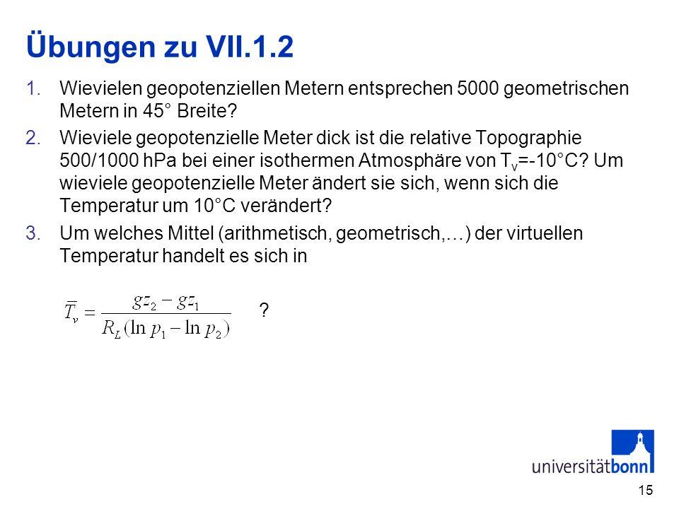 Übungen zu VII.1.2 Wievielen geopotenziellen Metern entsprechen 5000 geometrischen Metern in 45° Breite