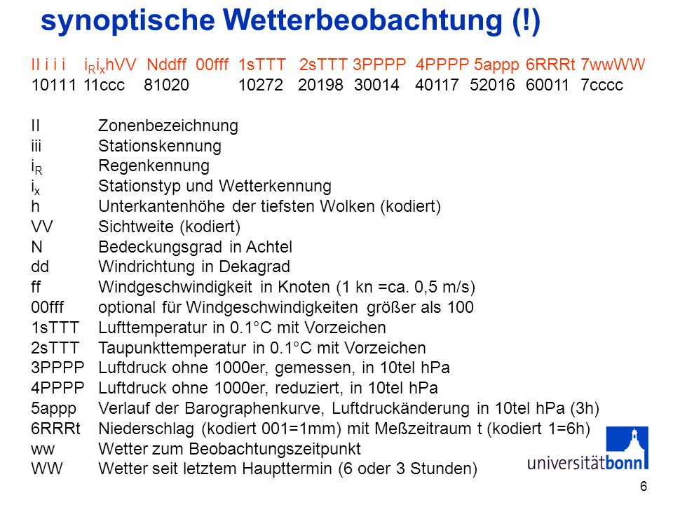 synoptische Wetterbeobachtung (!)