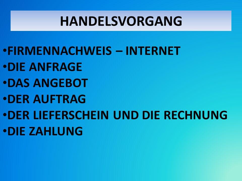 HANDELSVORGANG FIRMENNACHWEIS – INTERNET DIE ANFRAGE DAS ANGEBOT