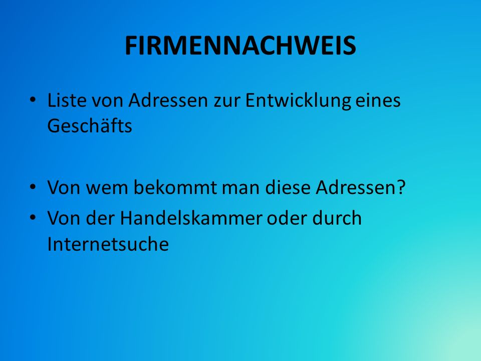 FIRMENNACHWEIS Liste von Adressen zur Entwicklung eines Geschäfts