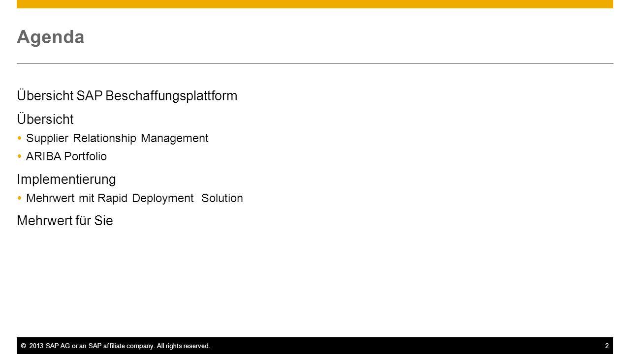 Agenda Übersicht SAP Beschaffungsplattform Übersicht Implementierung