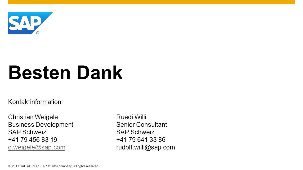 Besten Dank Kontaktinformation: Christian Weigele Ruedi Willi