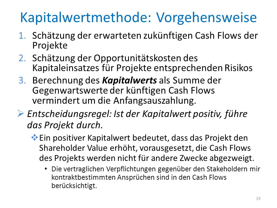 Kapitalwertmethode: Vorgehensweise