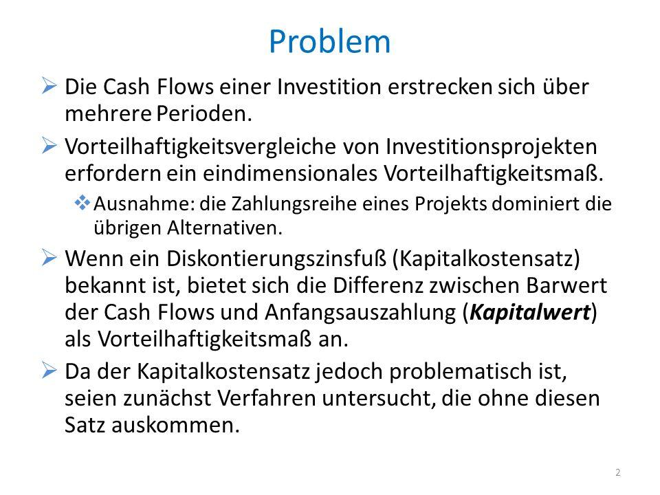 Problem Die Cash Flows einer Investition erstrecken sich über mehrere Perioden.