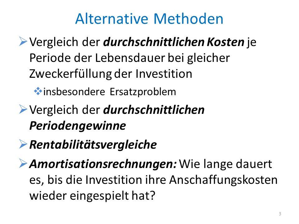 Alternative Methoden Vergleich der durchschnittlichen Kosten je Periode der Lebensdauer bei gleicher Zweckerfüllung der Investition.