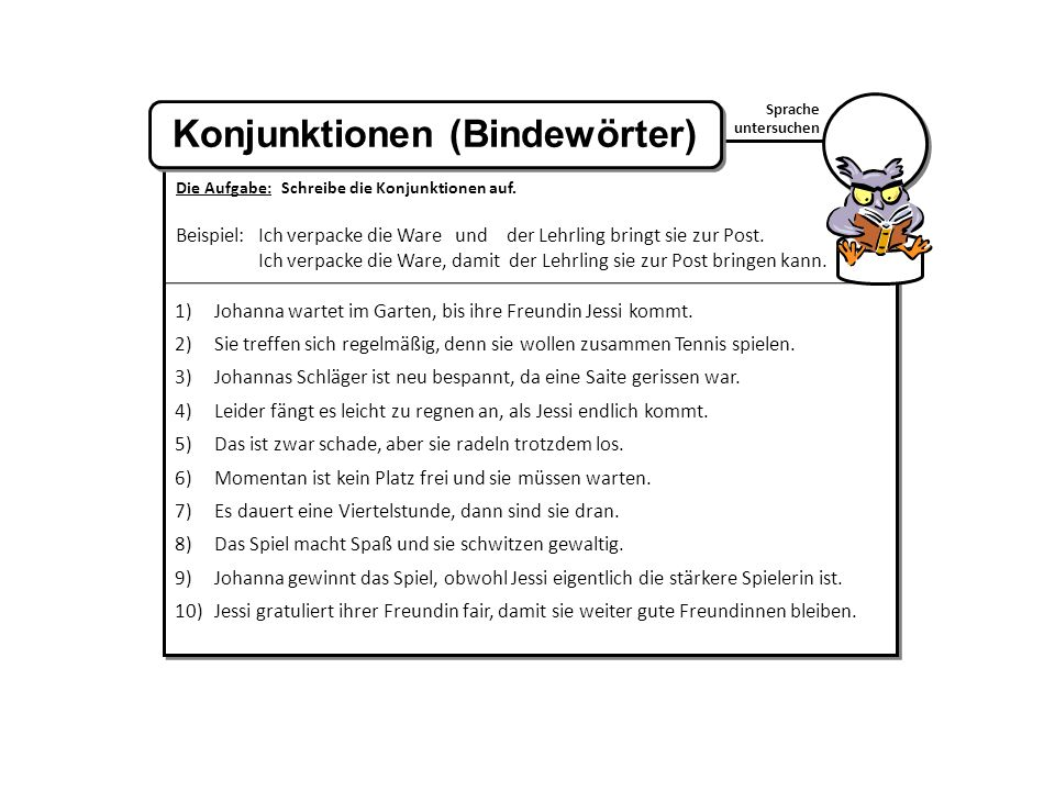Konjunktionen (Bindewörter)