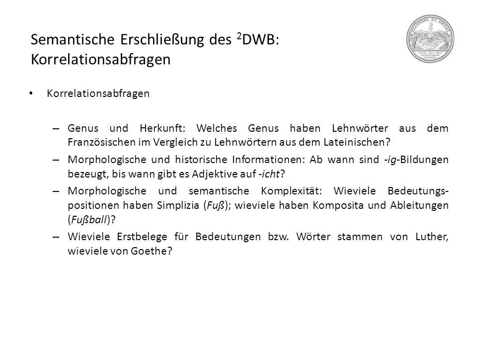 Semantische Erschließung des 2DWB: Korrelationsabfragen