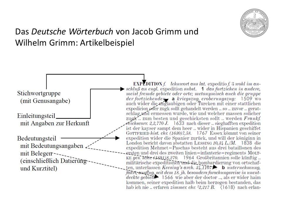 Das Deutsche Wörterbuch von Jacob Grimm und Wilhelm Grimm: Artikelbeispiel