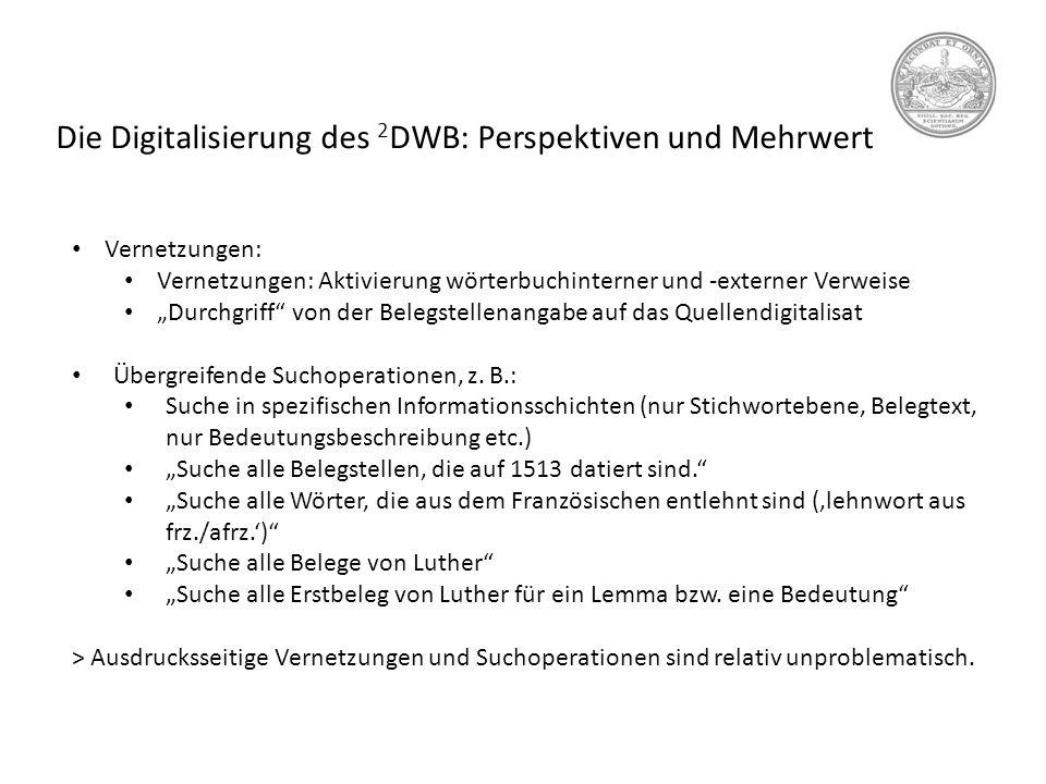 Die Digitalisierung des 2DWB: Perspektiven und Mehrwert