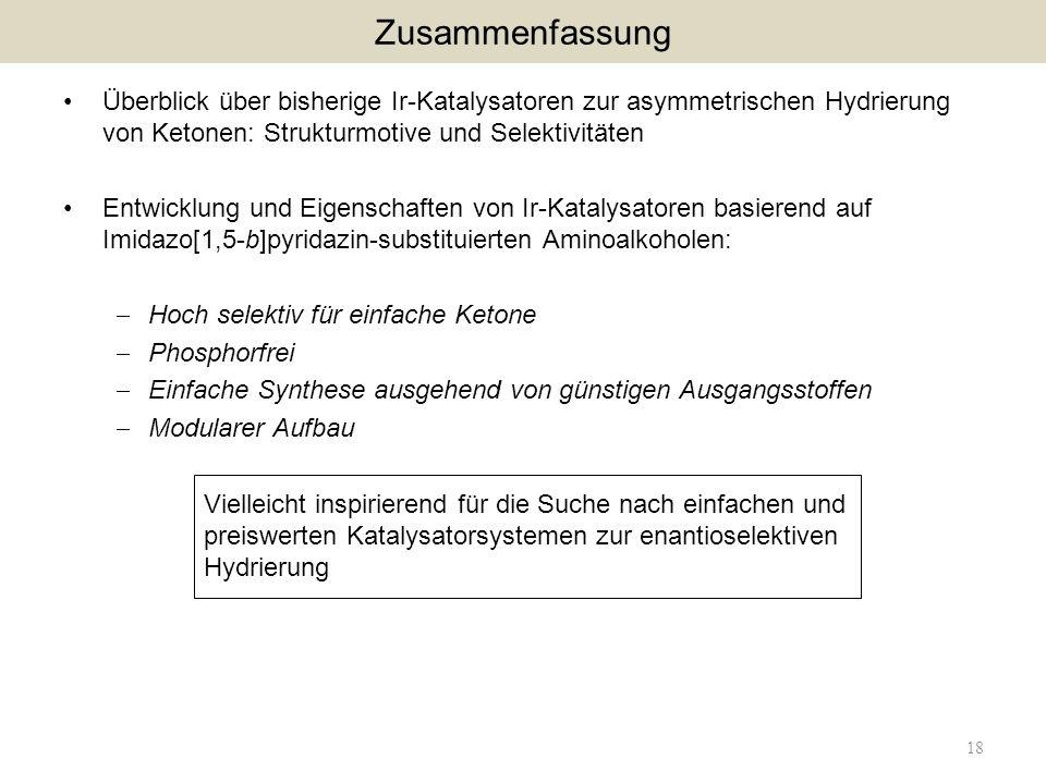 Zusammenfassung Überblick über bisherige Ir-Katalysatoren zur asymmetrischen Hydrierung von Ketonen: Strukturmotive und Selektivitäten.