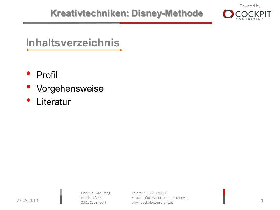 Inhaltsverzeichnis Profil Vorgehensweise Literatur 22.09.2010