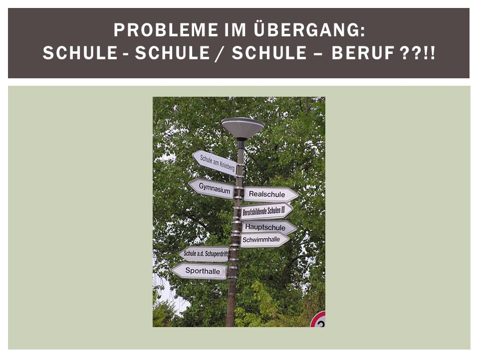 Probleme im Übergang: Schule - Schule / Schule – Beruf !!