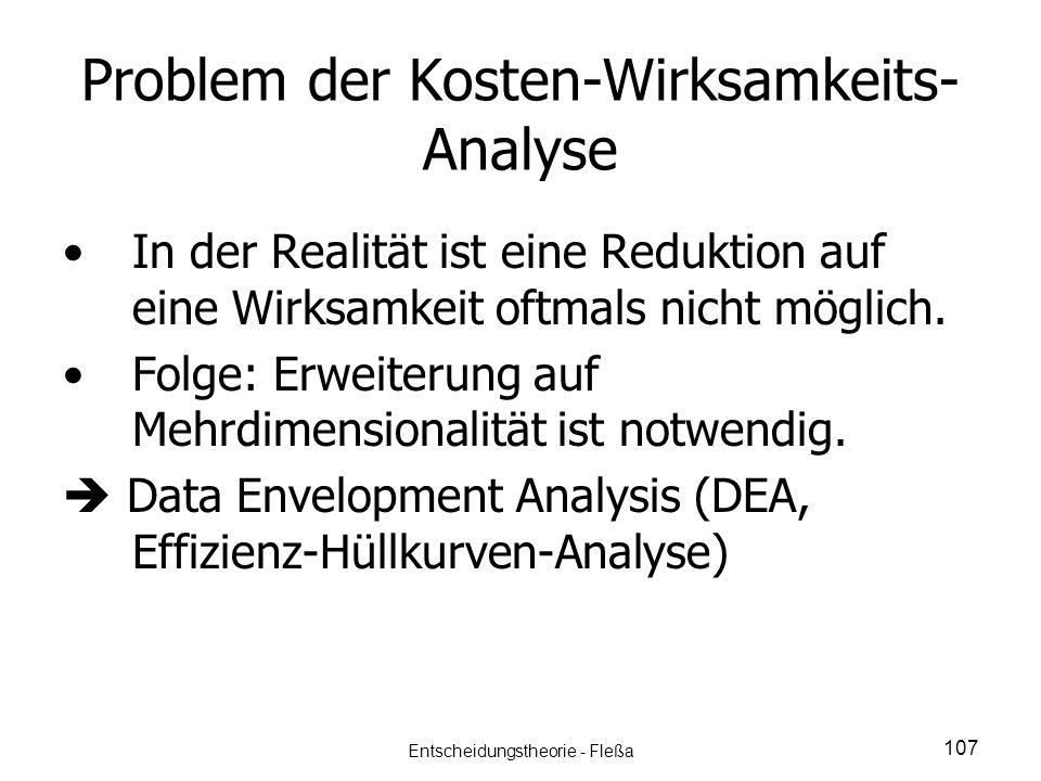 Problem der Kosten-Wirksamkeits-Analyse