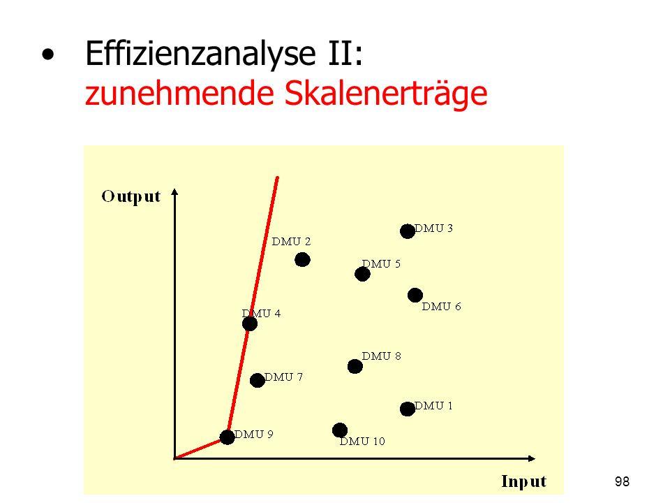 Effizienzanalyse II: zunehmende Skalenerträge