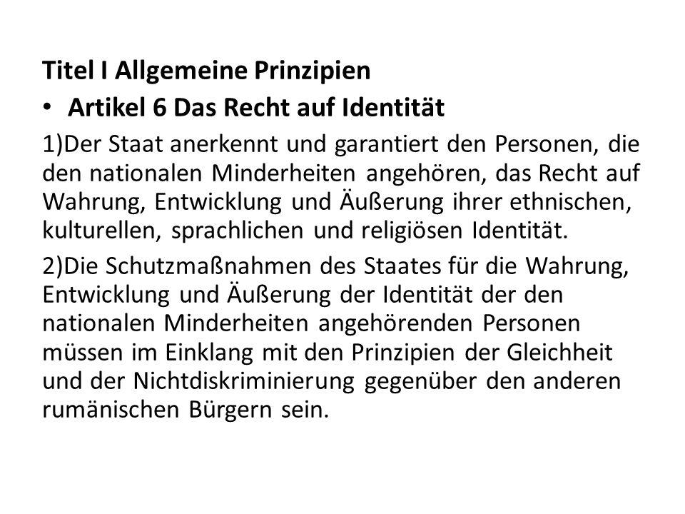 Titel I Allgemeine Prinzipien Artikel 6 Das Recht auf Identität
