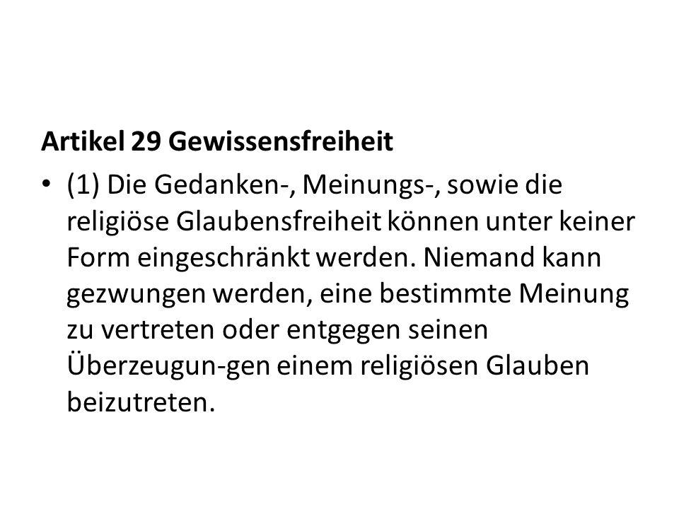 Artikel 29 Gewissensfreiheit