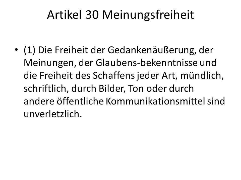 Artikel 30 Meinungsfreiheit